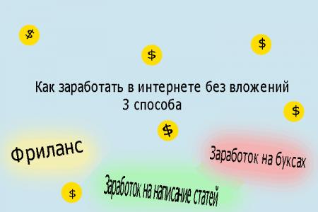 Как заработать денег в интернете без вложений, три способа