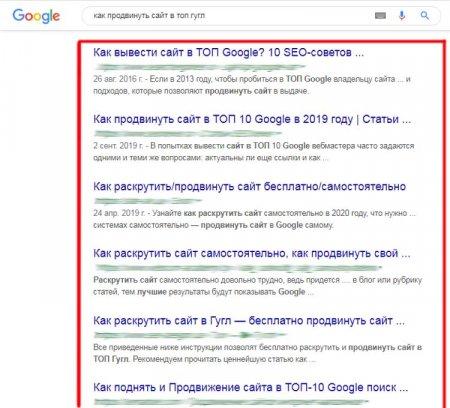 Запросы в выдаче Google конкуренты