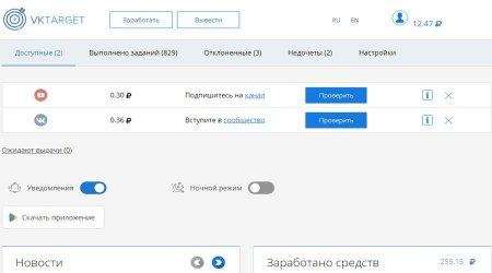 Vktarget - заработок в социальных сетях