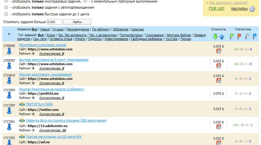Список платных заданий на вммаил