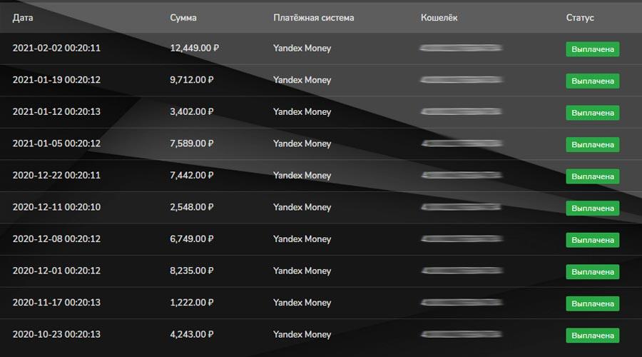 Реально ли заработать в интернете - скриншот выплат